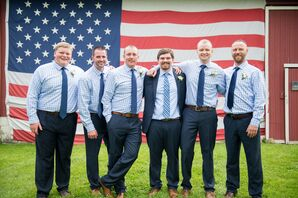 Navy Groom Suit and Checkered Groomsmen Shirts