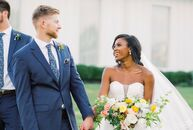 Jasmine White (24 and the owner of a juice bar) and Jacob Parker (26 and a field engineer) lived miles apart for the three years before their wedding,