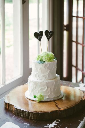 Floral Wedding Cake With Initials