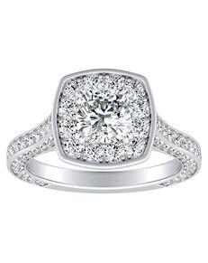 DiamondWish.com Glamorous Cushion Cut Engagement Ring