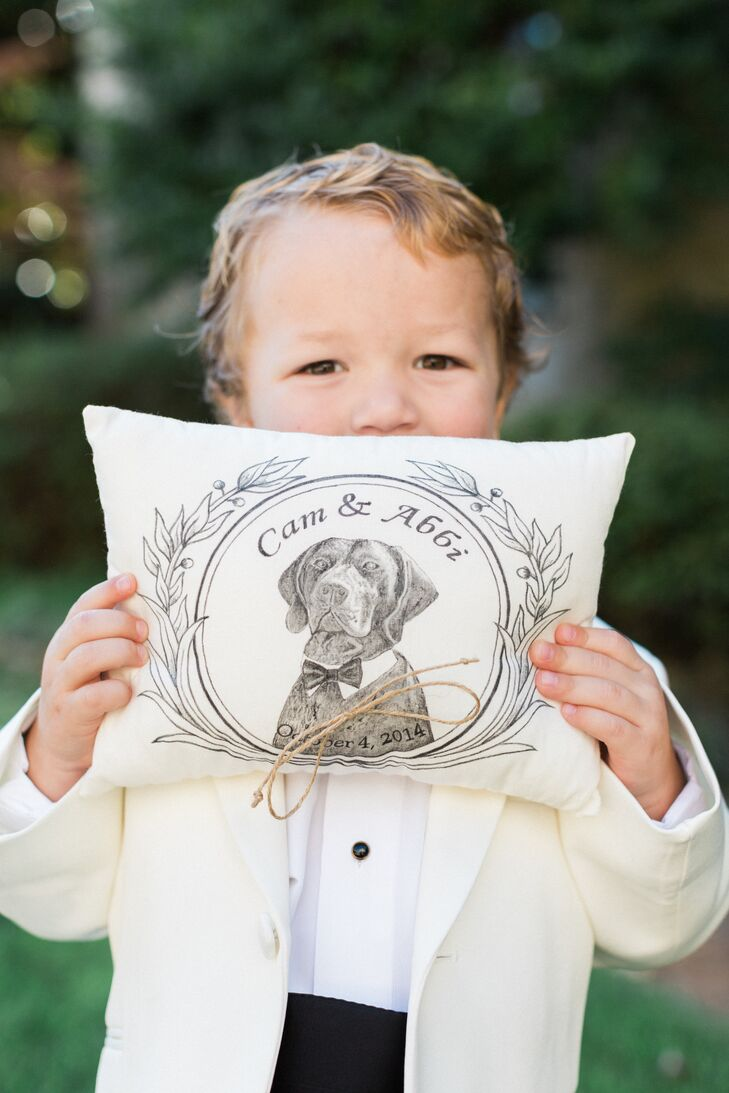 Custom Dog-Illustrated Ring Bearer Pillow