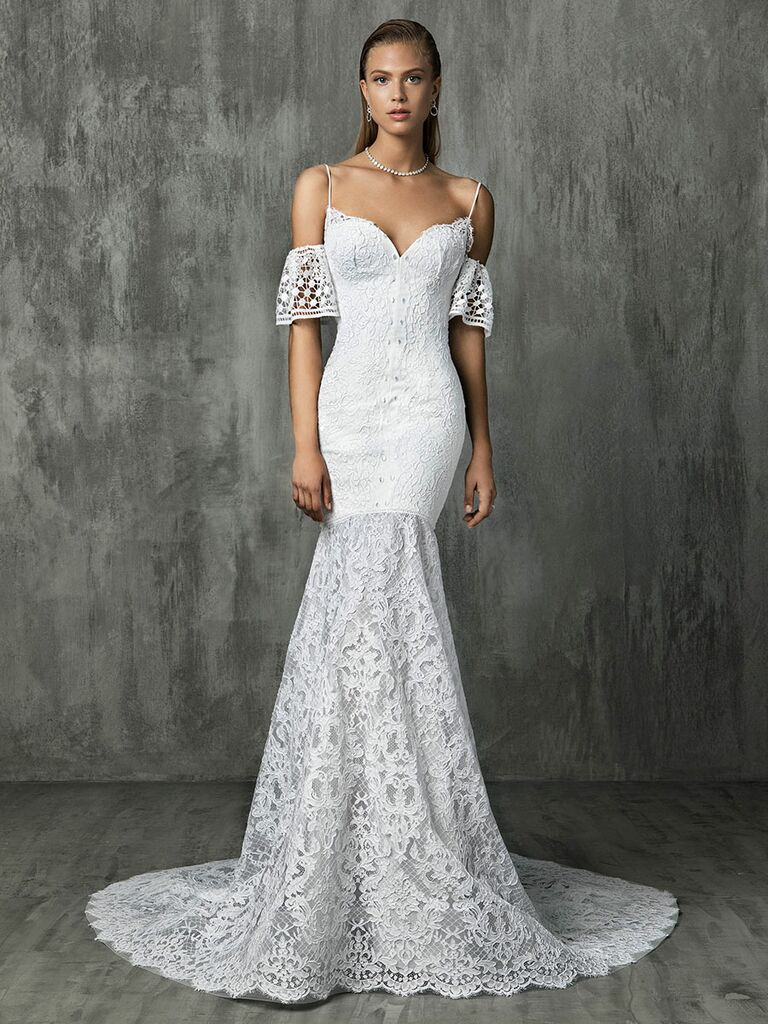 Victoria Kyriakides Fall 2018 wedding dresses with spaghetti straps and off-the-shoulder straps