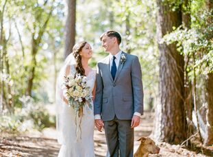"""n                    Cotton-filled arrangements, antler accents and homemade pecan pie all made for a rustic, one-of-a-kind affair. """"We both fell in l"""