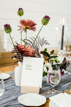 Modern Table Number and Centerpiece