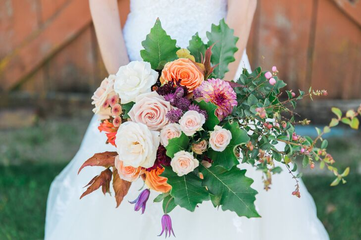 """Our florist was incredible,"" Shaylin says. ""She elaborated upon our harvest theme and used organic shapes and colors. I didn't ask for any specific flowers, but she knew exactly what I wanted."""