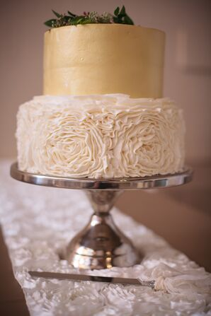 Gold and Ivory Two Tier Cake