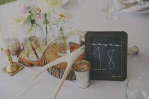 Rustic Wood and Antlers Centerpiece