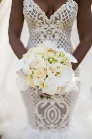 Classic White Rose and Orchid Bouquet