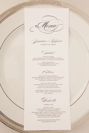 Black-and-White Cursive Menu Card