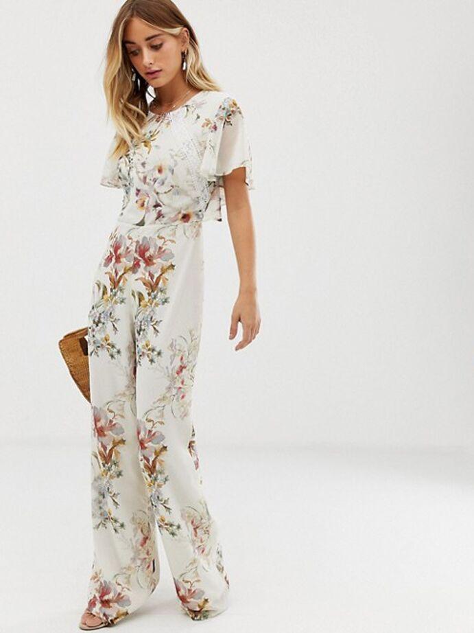 Ivory floral jumpsuit