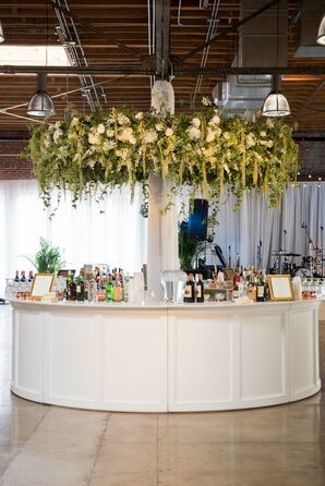 Suspended Vine, Amaranthus and Hydrangea Bar Floral Arrangement