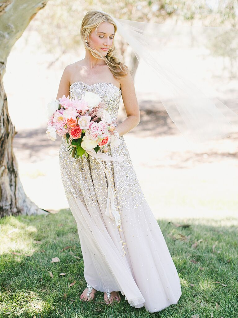 BHLDN wedding gown with a gold sequin ombre design