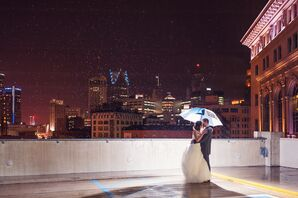 Rooftop Couple Shot in the Rain