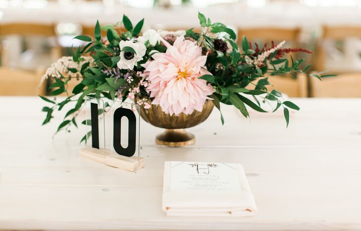 Block-Style Table Numbers in Plastic Covers