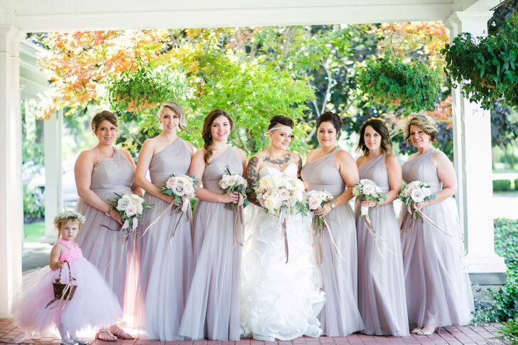 Lavender One-Shoulder Bridesmaid Dresses