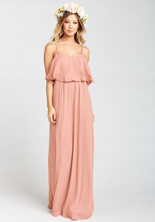 38fae939589 Show Me Your Mumu Caitlin Ruffle Maxi Dress - Rustic Mauve Crisp Scoop  Bridesmaid Dress