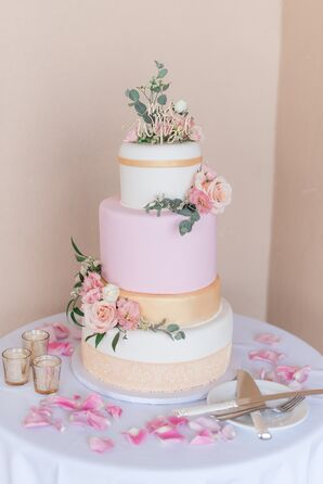 Pink and Gold Fondant Wedding Cake