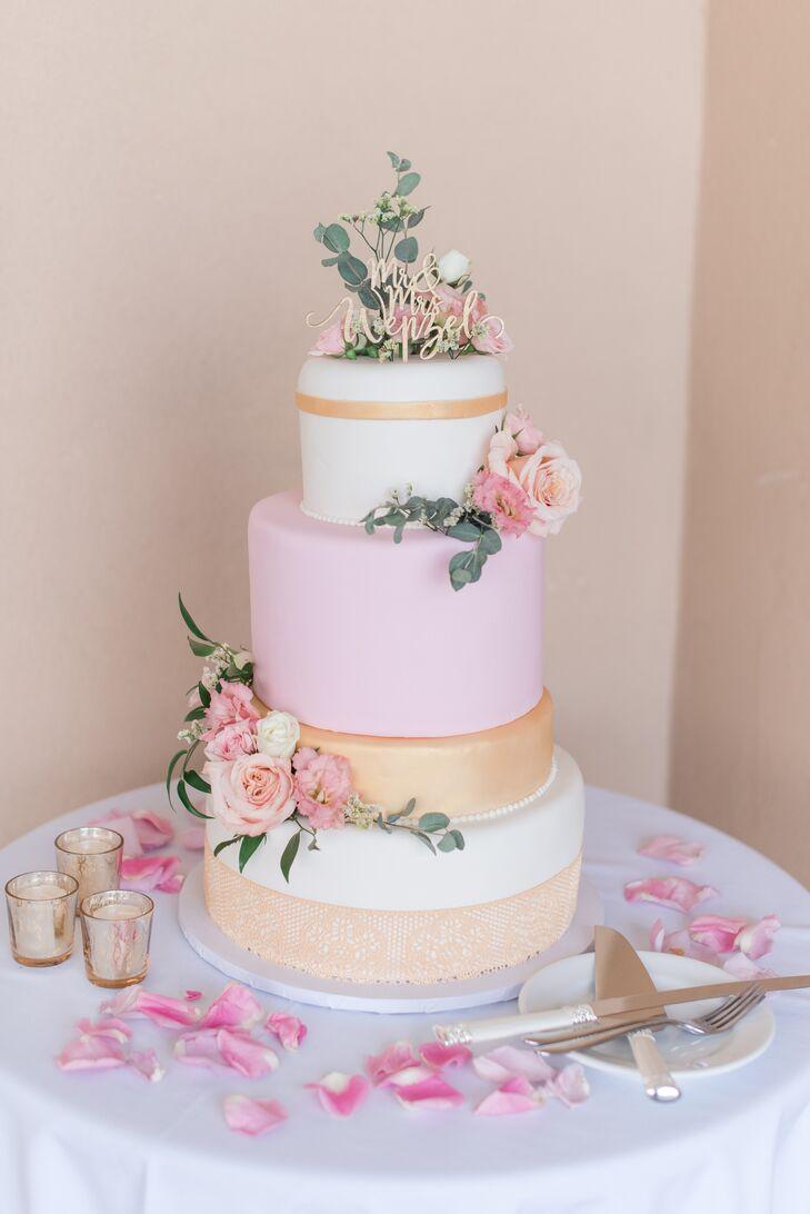 Pink and Gold Fondant Wedding Cake