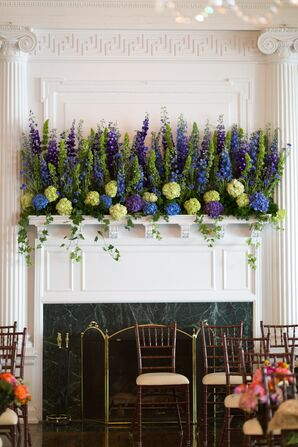 Mantle Decorated with Hydrangea and Delphinium
