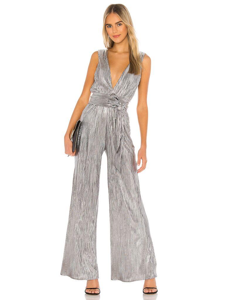 Silver v-neck belted jumpsuit