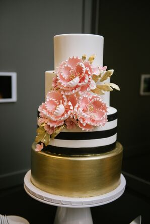 Modern Black, White and Gold Wedding Cake with Pink Sugar Flowers
