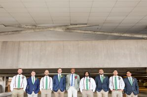 Preppy Navy and Green Groomsmen Attire