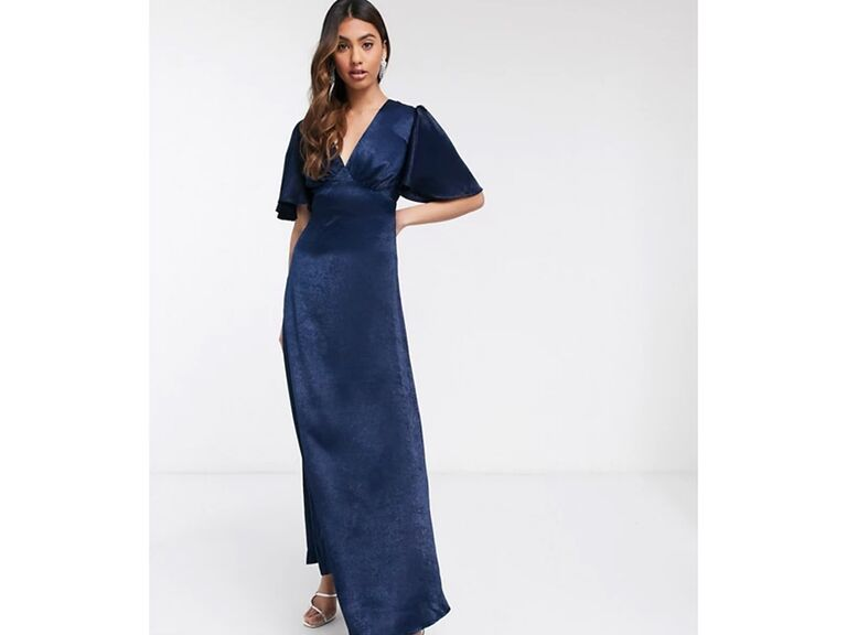 Navy satin gown with flutter sleeves