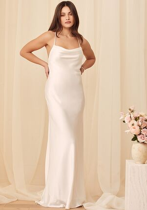 Lulus Connected At Heart White Satin Cowl Neck Lace-Up Maxi Dress Mermaid Wedding Dress