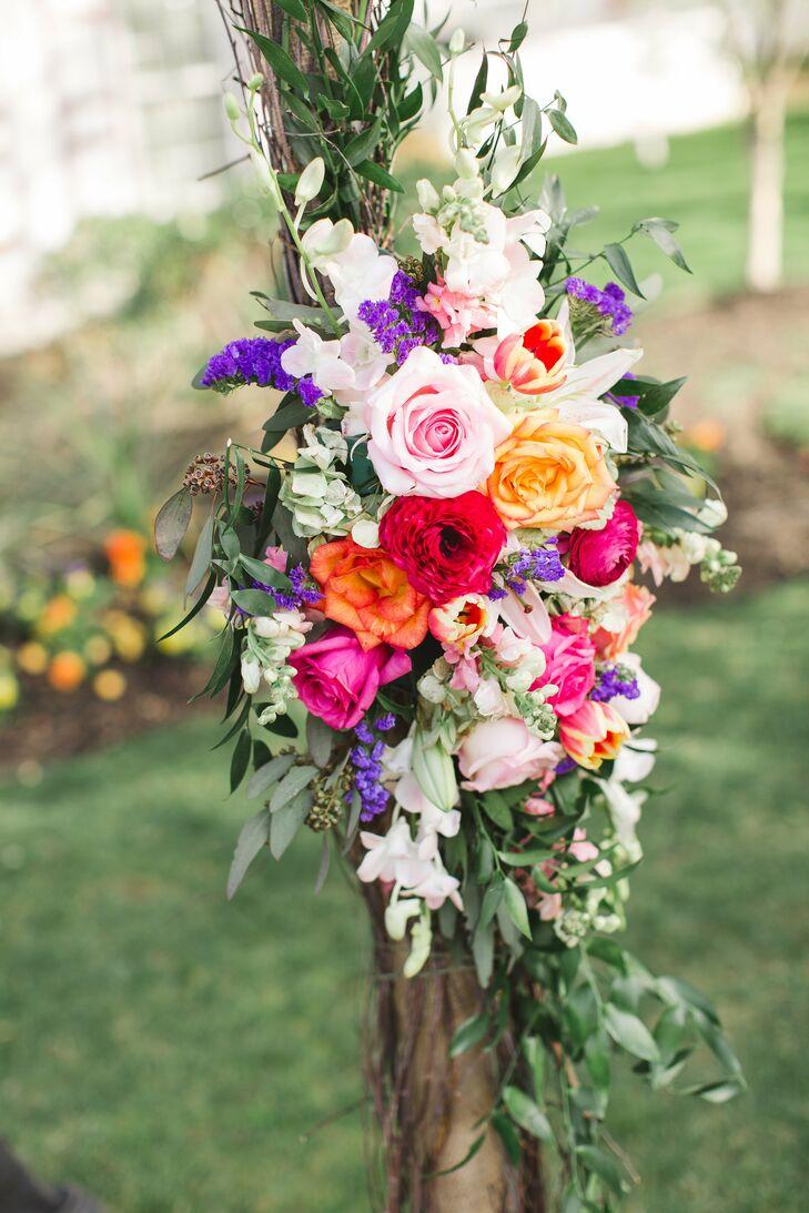 Red Pink Purple And Orange Flower Arrangement