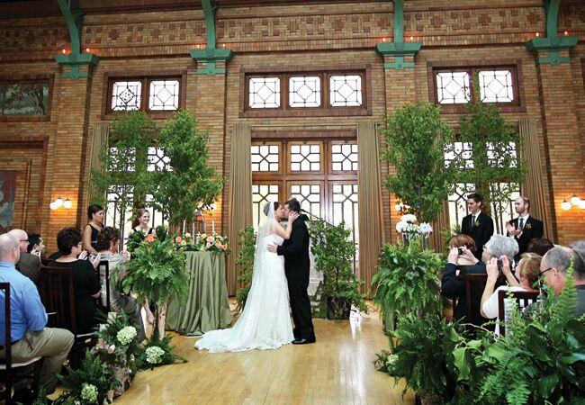 Woodland wedding ceremony backdrop: Life On Prints Photography / TheKnot.com