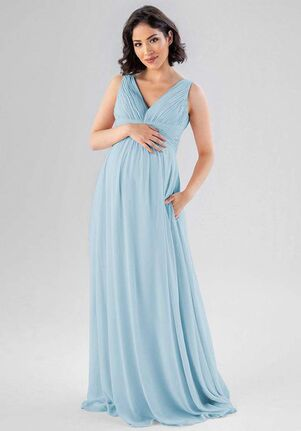 Kennedy Blue Paisley V-Neck Bridesmaid Dress