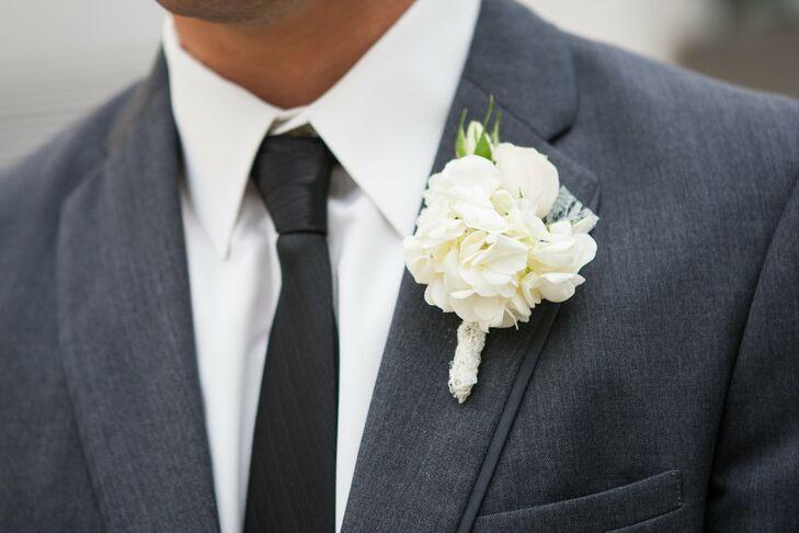 White Hydrangea Boutonniere