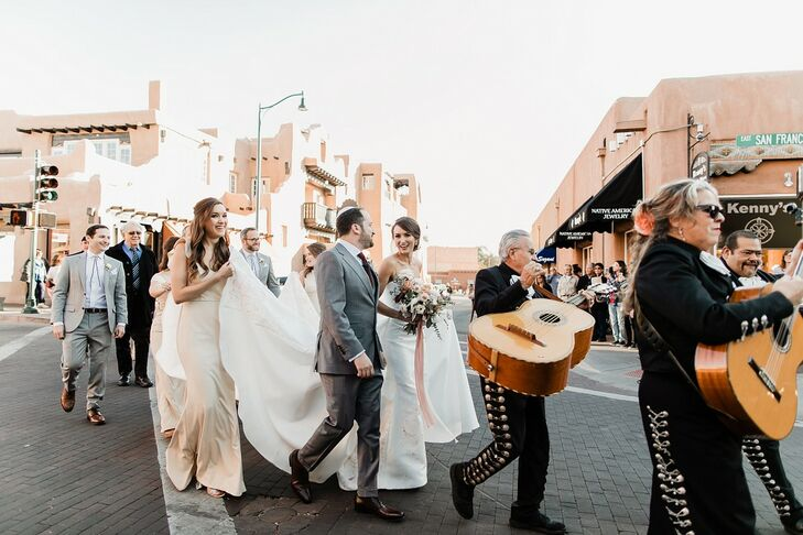 Wedding Parade with Live Musicians in Santa Fe, New Mexico