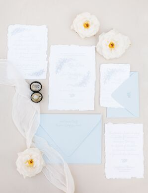 Pale Blue Script Invitations with Floral Motif