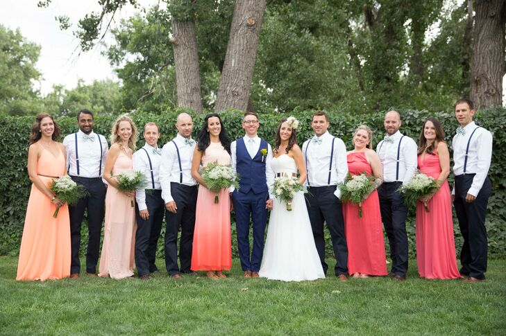 Navy And Coral Wedding.Casual Coral And Navy Wedding Party