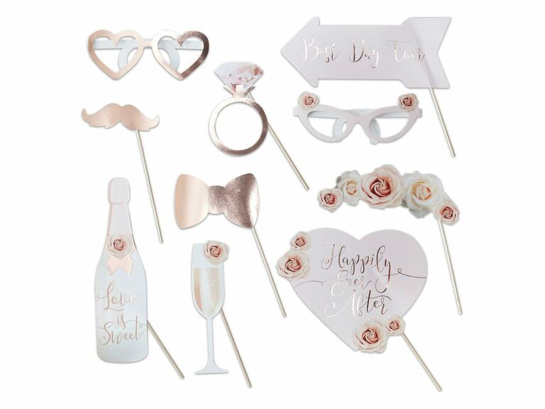 Rose gold floral wedding photo booth props