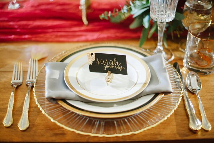 Silver and Gold Rimmed Dinnerware and Flatware