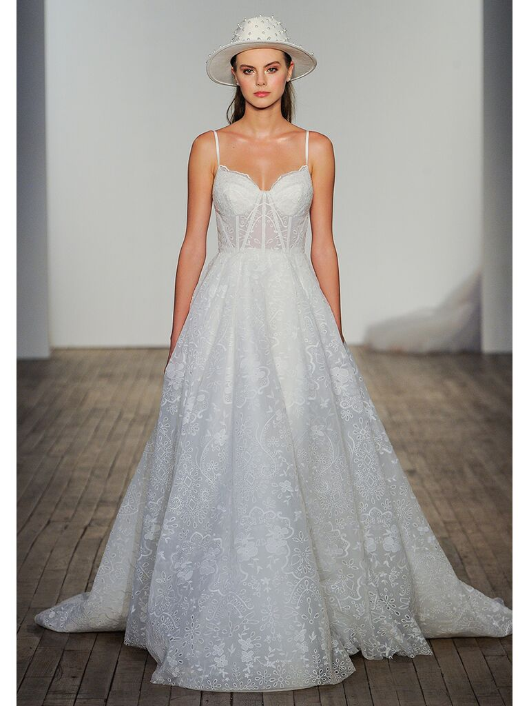 Hayley Paige wedding dress ball gown with sheer bodice