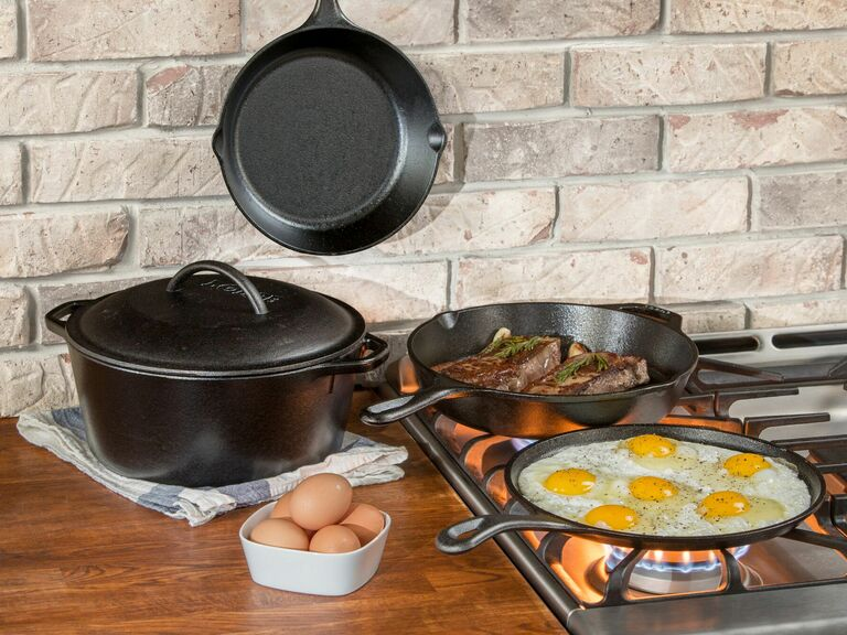 Lodge cast iron cookware in kitchen cooking food