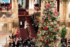 Wedding Ceremony on Staircase at The Jefferson Hotel in Richmond, Virginia