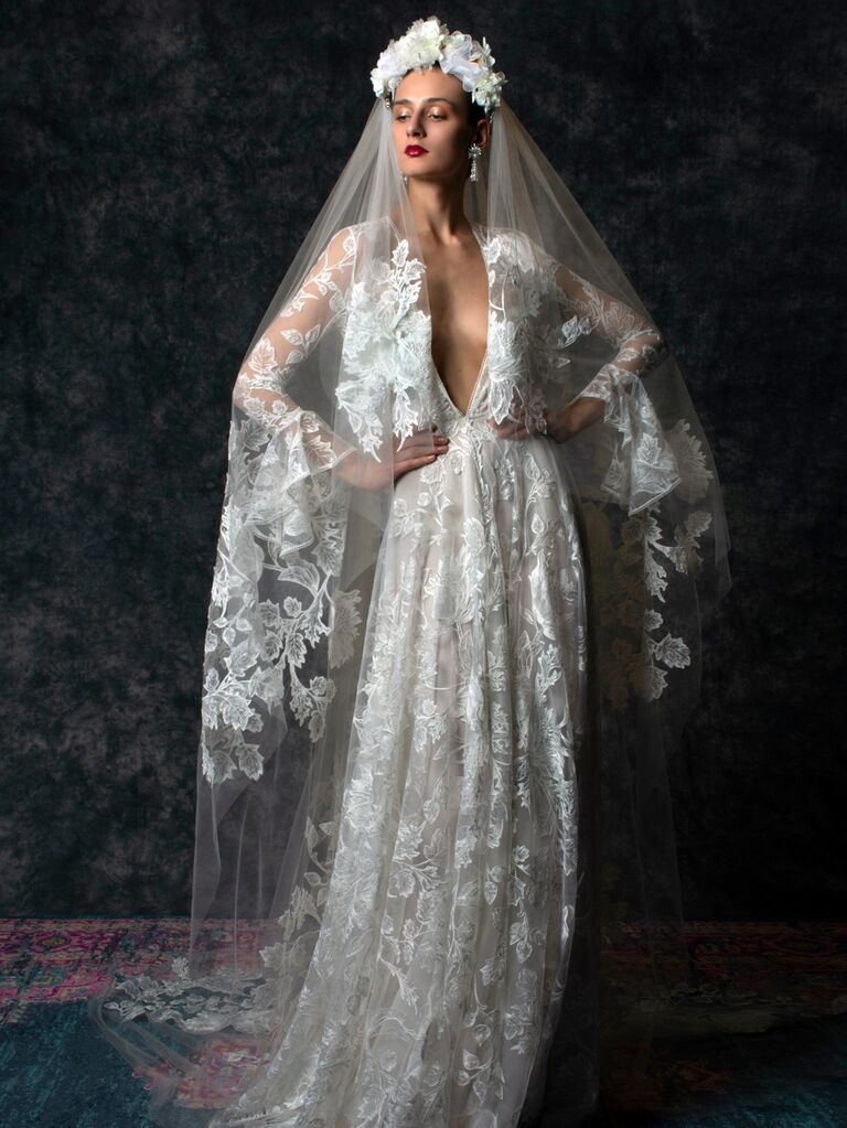 Naeem Khan Spring 2020 Bridal Collection lace long sleeve wedding dress with plunging neckline