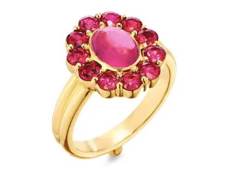 Ruby engagement ring with tourmaline halo on gold band