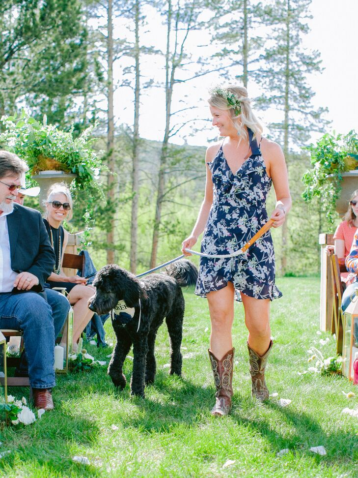 Dog Ring Bearer and Woman with Cowboy Boots