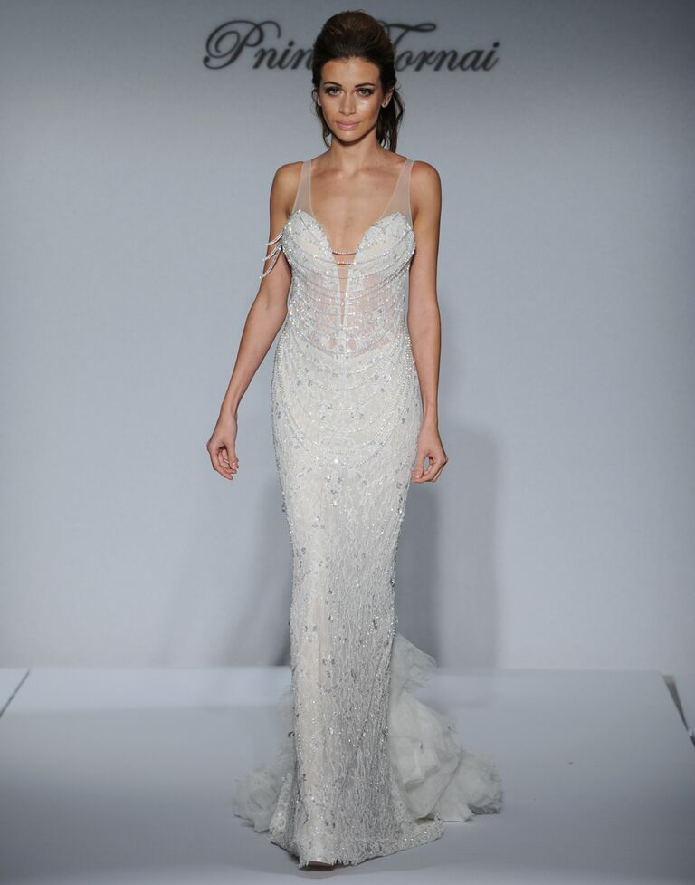 Pnina Tornai Beaded Sheath Wedding Dress With Ruffle Tulle Train And Sheer Waist From Fall 2016