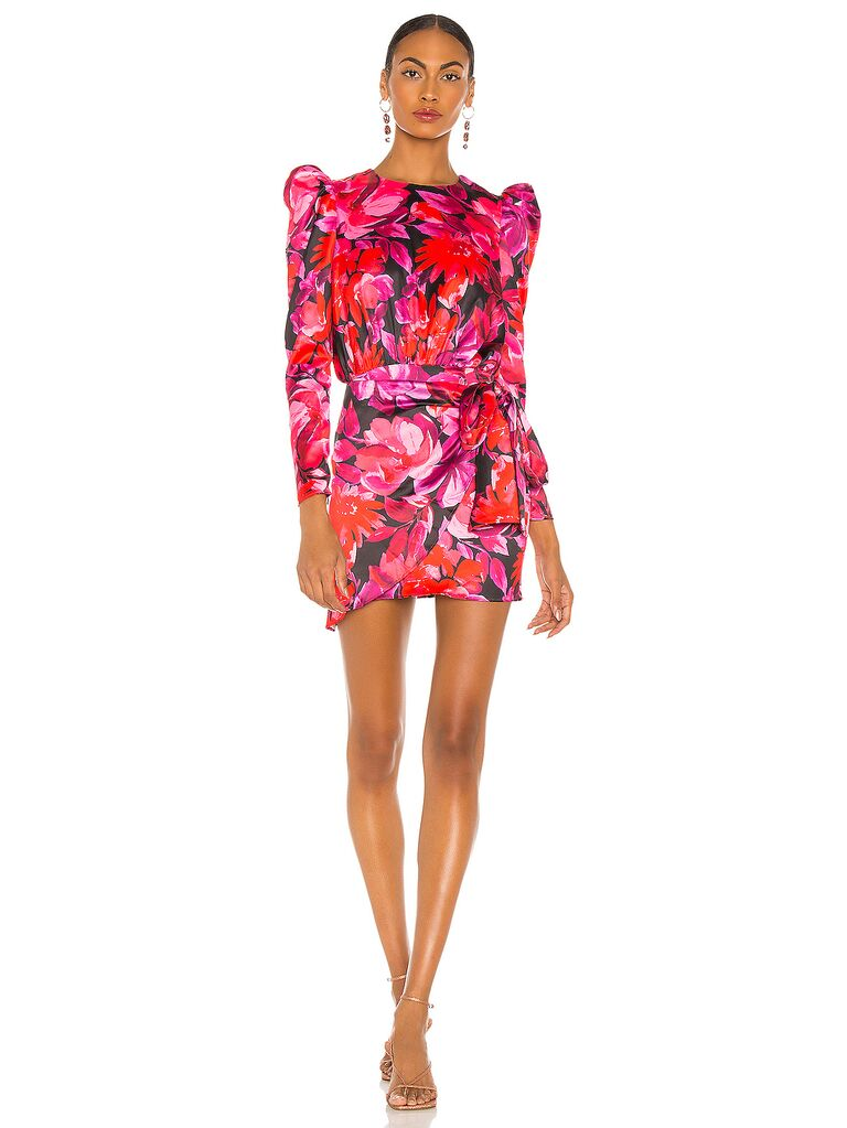 Pink floral mini dress with long sleeves and puff shoulders