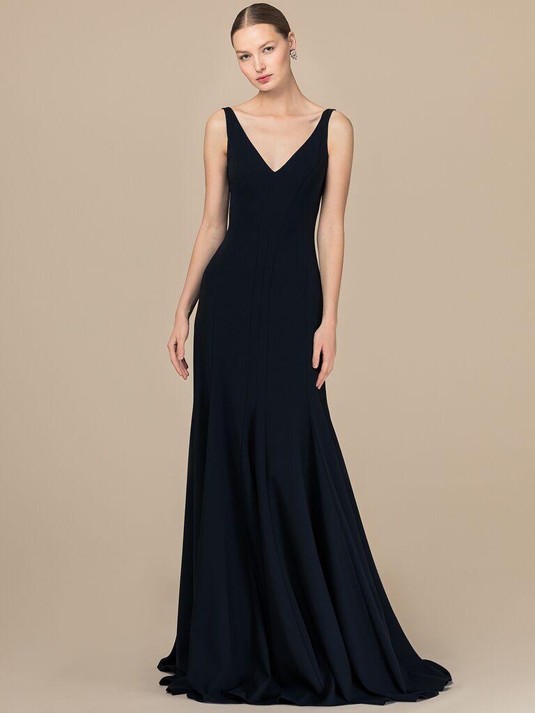 EDEM Demi Couture A-line black dress with V-neckline
