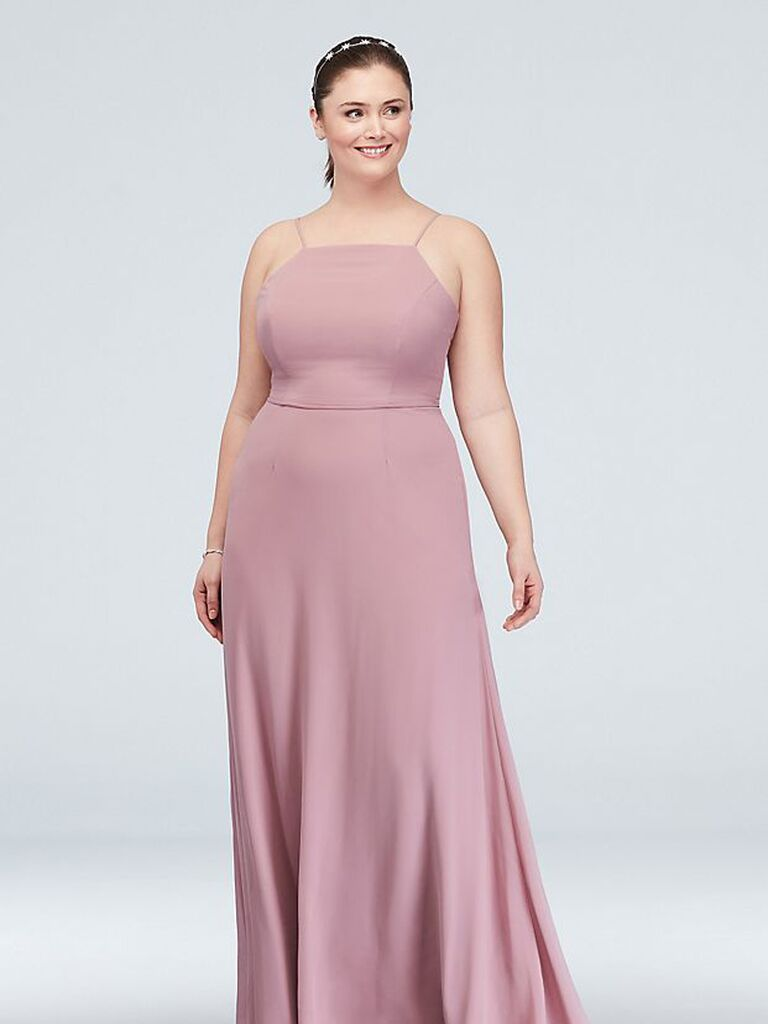 Long pink bridesmaid dress under $100