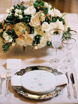 Vintage Silver Flatware with Ivory Rose Centerpiece