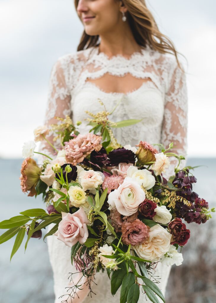 Oversize Blush and Burgundy Garden Rose and Ranunculus Bouquet
