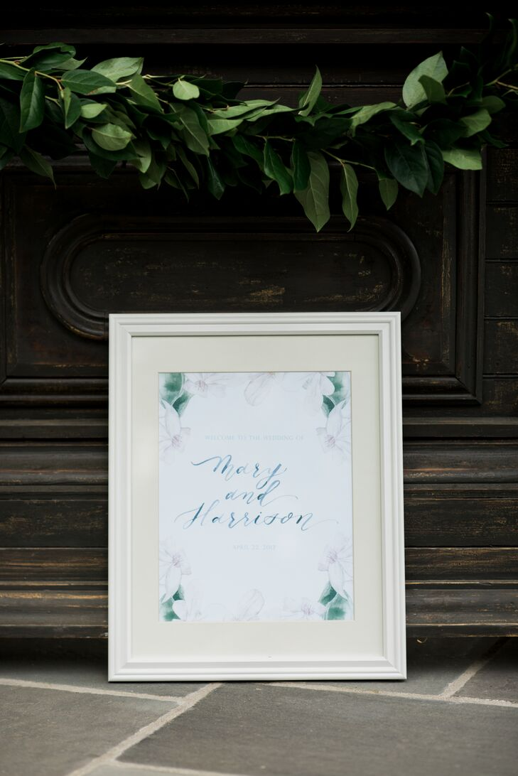 Welcome signs echoed the watercolor designs used in Mary and Harrison's wedding invitations.